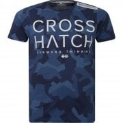 New Crosshatch Mens Kaplers Camo Army Print Casual T Shirt Navy