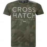 New Crosshatch Mens Kaplers Camo Army Print Casual T Shirt Olive