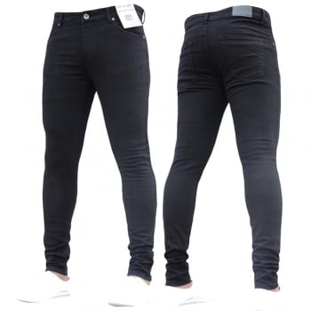 Enzo New ENZO Mens Designer Stretch Super Skinny Denim Jeans Black