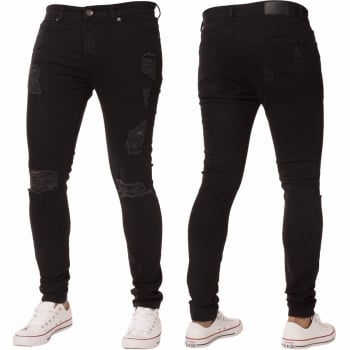 Enzo New ENZO Mens Designer Stretch Super Skinny Ripped Denim Jeans Black