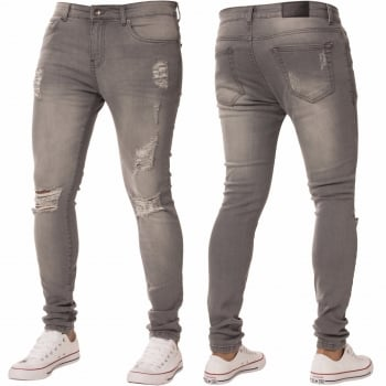 Enzo New ENZO Mens Designer Stretch Super Skinny Ripped Denim Jeans Grey