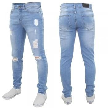 Enzo New ENZO Mens Designer Stretch Super Skinny Ripped Denim Jeans Light Stonewash