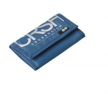 Crosshatch New Mens Crosshatch Three Fold Zip Nylon Crunch Wallets Mazarine Blue