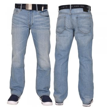 Smith & Jones Mens Enrico Bootcut Leg Jeans Light Used Look