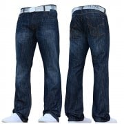 Smith & Jones Mens Furio Straight Leg Jeans Dark Used Look