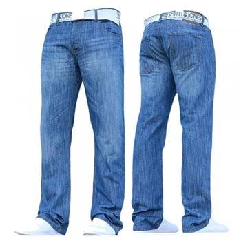 Smith & Jones Mens Furio Straight Leg Jeans Light Wash