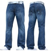 Smith & Jones Mens Furio Straight Leg Jeans Stonewash Blue