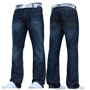 Smith & Jones Mens Zuccio Bootcut Leg Jeans Dark Used Look