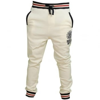 Soul Star Mens MP Sienna Fleece Lined Sweat Joggers Ecru