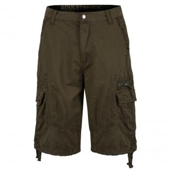 Soul Star Mens MST Designer Cargo Combat Chino Shorts Dark Khaki