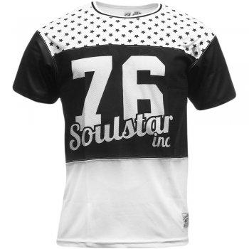 Soul Star MT Nebula Baseball Mesh Stars Number Sport T Shirt Tee Top White