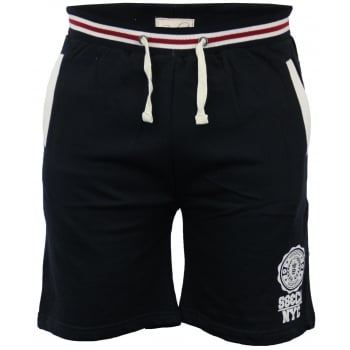 Soul Star Sienna Knee Length Fleece Lined Sweat Shorts Navy