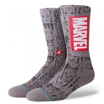 Stance Socks Stance Mens New Classic Crew Comfort Marvel Icons Socks Grey