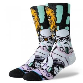 Stance Socks Stance Mens New Star Wars Classic Crew Warped Chewbacca Comfort Black Socks