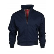 Threads Mens Harrington Vintage Jacket Coat Mod Tartan Check Navy