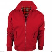 Threads Mens Harrington Vintage Jacket Coat Mod Tartan Check Red