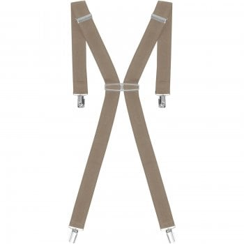 "Threads Mens Heavy Duty Beige Braces Trouser Belt Suspender 1.5"" 35mm Wide"