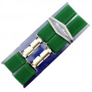 "Threads Mens Heavy Duty Emerald Green Braces Trouser Belt Suspender 1.5"" 35mm Wide"