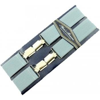 "Threads Mens Heavy Duty Light Grey Braces Trouser Belt Suspender 1.5"" 35mm Wide"