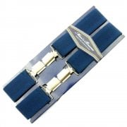 "Threads Mens Heavy Duty Navy Braces Trouser Belt Suspender 1.5"" 35mm Wide"