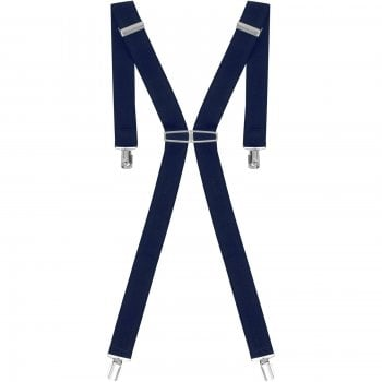 "Threads Mens Heavy Duty Navy Braces Trouser Belt Suspender 1.5"" 35mm Wide"