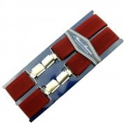 "Threads Mens Heavy Duty Wine Braces Trouser Belt Suspender 1.5"" 35mm Wide"