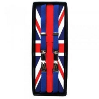 "Threads Union Jack Classic 1/2"" 14mm Thin Black Mens Braces Royal Blue"