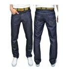 Mens Designer Branded Comfort Fit Straight Leg Rinse Jeans