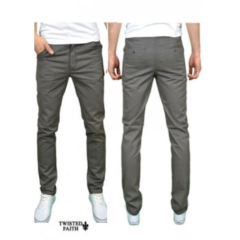 Twisted Faith Mens Designer Slim Fit Chinos Grey