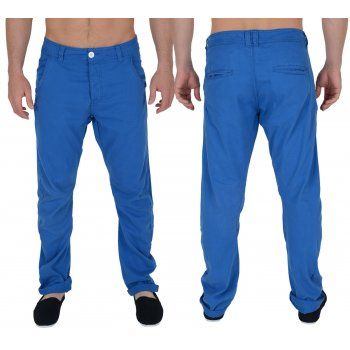 Twisted Faith Mens Designer Slim Fit Electric Blue Chinos