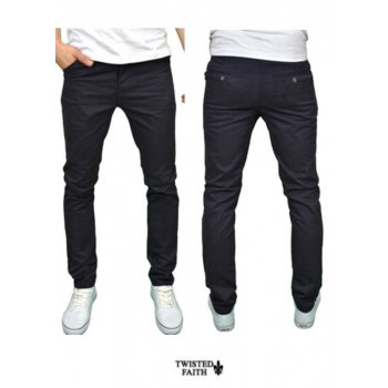Twisted Faith Mens Designer Slim Fit Navy Chinos