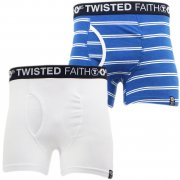 Twisted Faith Mens Underwear 2 Pack Boxer Shorts Blue White