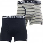 Twisted Faith Mens Underwear 2 Pack Boxer Shorts Navy Grey