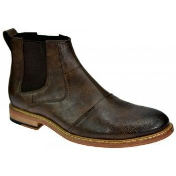 Voeut Cavani Mens Simon Ankle Faux Leather Chelsea Boots Brown