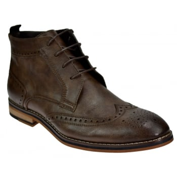 Voeut Mens Sava Brogue Ankle Leather Look Boots Brown