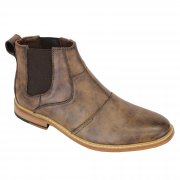 Voeut Mens Simon Ankle Leather Look Boots Brown