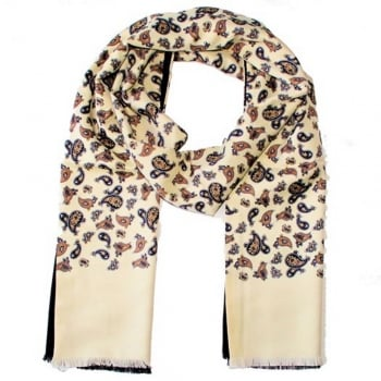 Warrior Clothing Mod Vintage Tassled Scarf Cream Paisley
