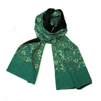 Warrior Clothing Mod Vintage Tassled Scarf Mint Green Paisley