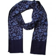 Warrior Clothing Mod Vintage Tassled Scarf Navy Paisley