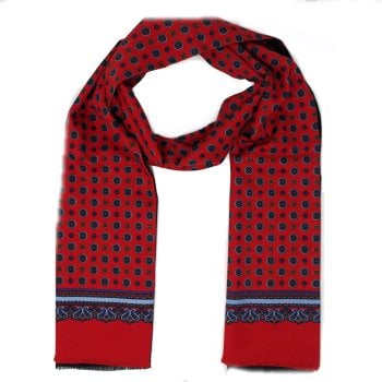 Warrior Clothing Mod Vintage Tassled Scarf Red Paisley