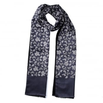 Warrior Clothing Mod Vintage Tassled Scarf Slate Grey Paisley