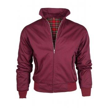 Warrior Clothing Threads Mens Harrington Vintage Jacket Coat Mod Tartan Check Wine