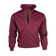 Threads Mens Harrington Vintage Jacket Coat Mod Tartan Check Wine