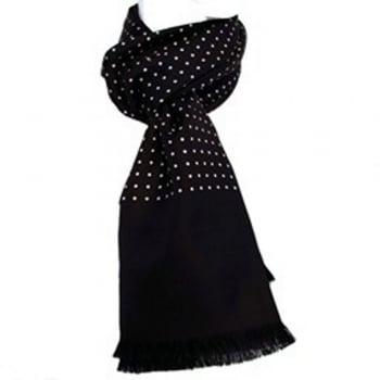 Warrior Clothing Warrior Luxury Silk Scarf with Wool Back Black Polka Dot