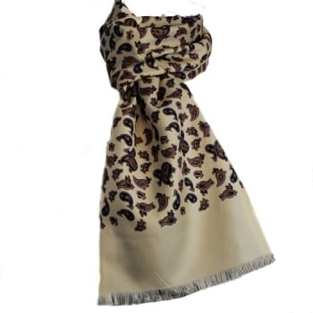 Warrior Clothing Warrior Luxury Silk Scarf with Wool Back Mod Cream Paisley