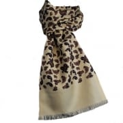 Warrior Luxury Silk Scarf with Wool Back Mod Cream Paisley