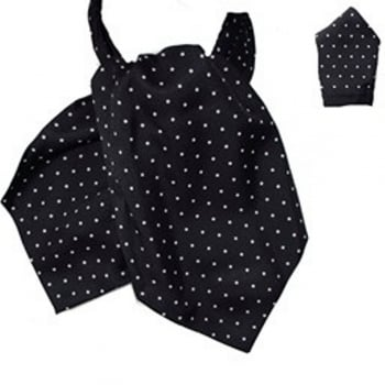 Warrior Clothing Warrior Matching Cravat & Hankerchief Black & White Polka Dots