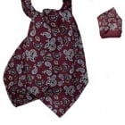 Warrior Matching Cravat & Hankerchief Burgundy Paisley