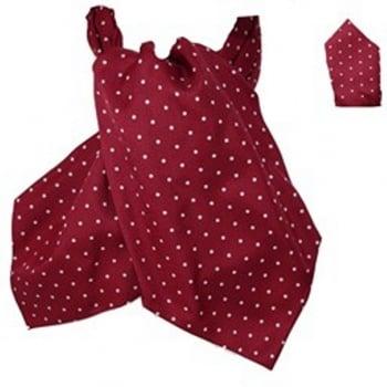 Warrior Clothing Warrior Matching Cravat & Hankerchief Burgundy & White Polka Dots