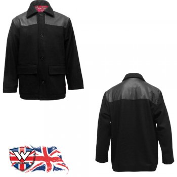 Warrior Clothing Warrior Mens Donkey Jacket With PVC Shoulder Panels Black